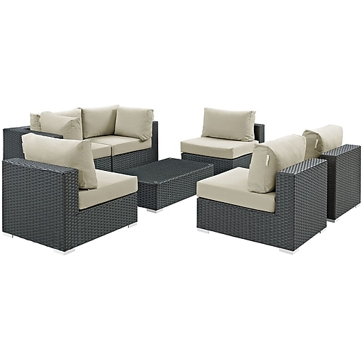 Modway Sojourn 7 Piece Outdoor Patio Sunbrella® Sectional Set in Canvas Antique Beige (889654025986)