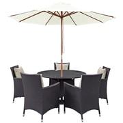 Modway Convene 7 Piece Outdoor Patio Dining Set in Espresso Beige (889654055716)