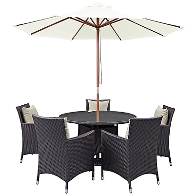 Modway Convene 7 Piece Outdoor Patio Dining Set in Espresso Beige (889654055716)