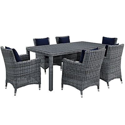 Modway Summon 7 Piece Outdoor Patio Sunbrella® Dining Set in Canvas Navy (889654069102)