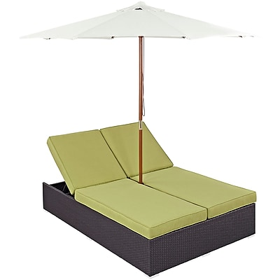 Modway Convene Double Outdoor Patio Chaise in Espresso Peridot (889654046028)