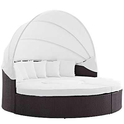 Modway Convene Canopy Outdoor Patio Daybed in Espresso White (889654045601)