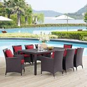 Convene 9 Piece Outdoor Patio Dining Set in Espresso Red (889654061205)