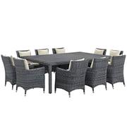 Modway Summon 11 Piece Outdoor Patio Sunbrella® Dining Set in Antique Canvas Beige (889654069188)
