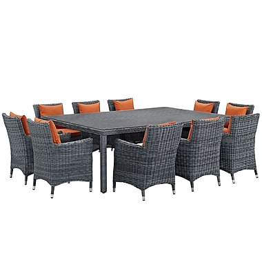 Modway Summon 11 Piece Outdoor Patio Sunbrella® Dining Set in Canvas Tuscan (889654069201)