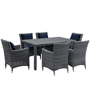 Modway Summon 7 Piece Outdoor Patio Sunbrella® Dining Set in Canvas Navy (889654069225)