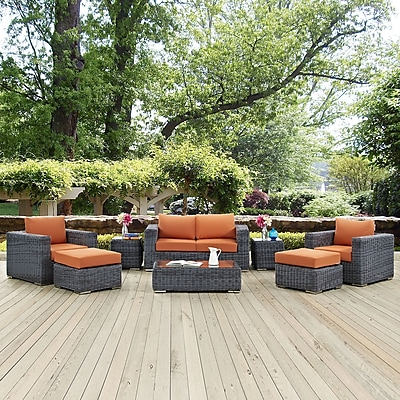 Summon 8 Piece Outdoor Patio Sunbrella® Sectional Set in Canvas Tuscan (889654026303)