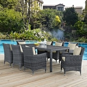 Summon 9 Piece Outdoor Patio Sunbrella® Dining Set in Antique Canvas Beige (889654069126)