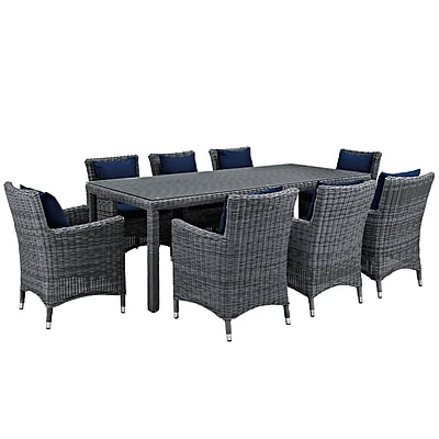 Modway Summon 9 Piece Outdoor Patio Sunbrella® Dining Set in Canvas Navy (889654069133)