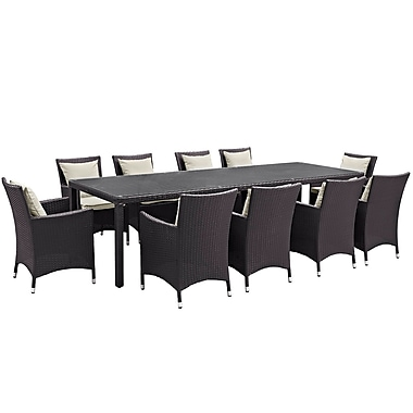 Modway Convene 11 Piece Outdoor Patio Dining Set in Espresso Beige (889654062608)