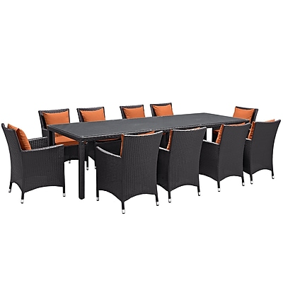Modway Convene 11 Piece Outdoor Patio Dining Set in Espresso Orange (889654062622)