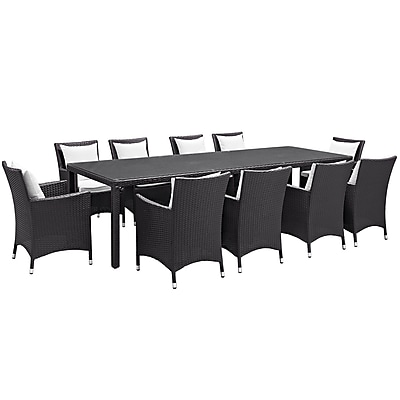 Modway Convene 11 Piece Outdoor Patio Dining Set in Espresso White (889654062660)