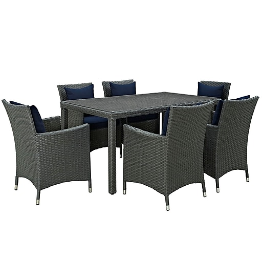 Modway Sojourn 7 Piece Outdoor Patio Sunbrella® Dining Set in Canvas Navy (889654066903)