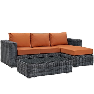 Modway Summon 3 Piece Outdoor Patio Sunbrella® Sectional Set in Canvas Tuscan (889654026549)
