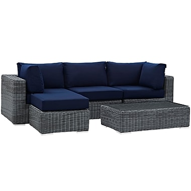 Modway Summon 5 Piece Outdoor Patio Sunbrella® Sectional Set in Canvas Navy (889654026563)