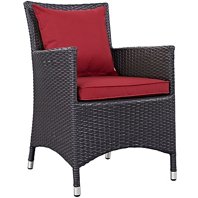 Convene 4 Piece Outdoor Patio Dining Set in Espresso Red (889654055501)