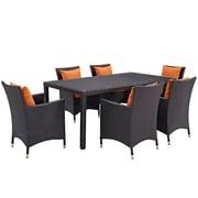 Modway Convene 7 Piece Outdoor Patio Dining Set in Espresso Orange (889654060383)