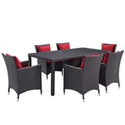 Modway Convene 7 Piece Outdoor Patio Dining Set in Espresso Red (889654060406)
