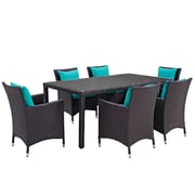 Modway Convene 7 Piece Outdoor Patio Dining Set in Espresso Turquoise (889654060413)