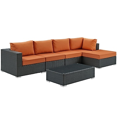 Modway Sojourn 5 Piece Outdoor Patio Sunbrella® Sectional Set in Canvas Tuscan (889654026099)