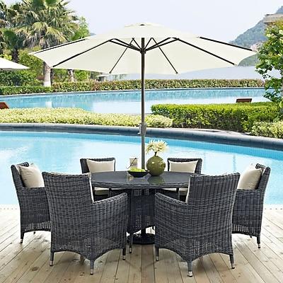 Summon 8 Piece Outdoor Patio Sunbrella® Dining Set in Antique Canvas Beige (889654067788)