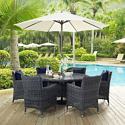 Summon 8 Piece Outdoor Patio Sunbrella® Dining Set in Canvas Navy (889654069072)