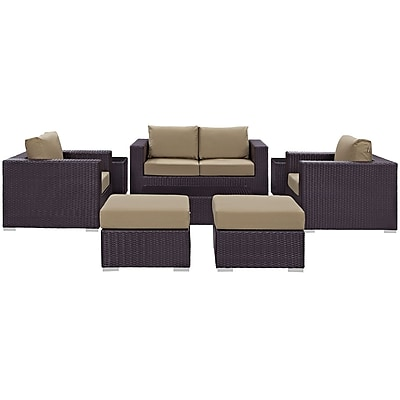 Convene 8 Piece Outdoor Patio Sofa Set in Espresso Mocha (889654044598)