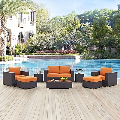 Convene 8 Piece Outdoor Patio Sofa Set in Espresso Orange (889654044604)