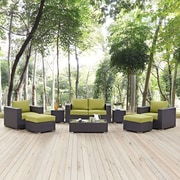 Convene 8 Piece Outdoor Patio Sofa Set in Espresso Peridot (889654044611)