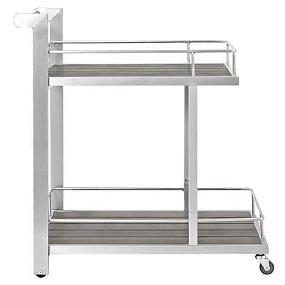 Shore Outdoor Patio Beverage Cart in Silver Gray (889654065128)