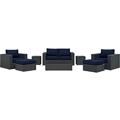 Sojourn 8 Piece Outdoor Patio Sunbrella® Sectional Set in Canvas Navy (889654025900)