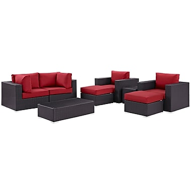 Modway Convene 8 Piece Outdoor Patio Sectional Set in Espresso Red (889654060895)