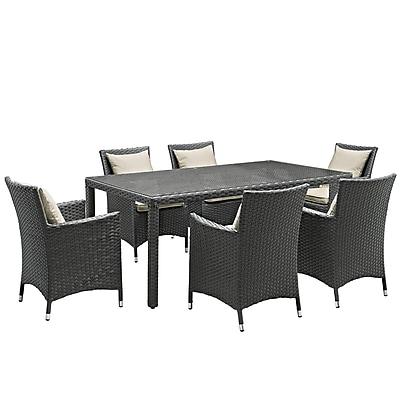 Modway Sojourn 7 Piece Outdoor Patio Sunbrella® Dining Set in Antique Canvas Beige (889654064268)