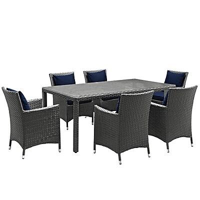 Modway Sojourn 7 Piece Outdoor Patio Sunbrella® Dining Set in Canvas Navy (889654064275)
