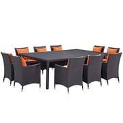Modway Convene 11 Piece Outdoor Patio Dining Set in Espresso Orange (889654062691)