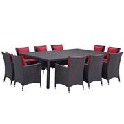 Modway Convene 11 Piece Outdoor Patio Dining Set in Espresso Red (889654062714)