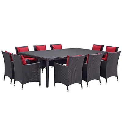 Modway Convene 11 Piece Outdoor Patio Dining Set in Espresso Red (889654062714)