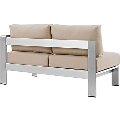 Shore Right-Arm Corner Sectional Outdoor Patio Aluminum Loveseat in Silver Beige (889654064879)
