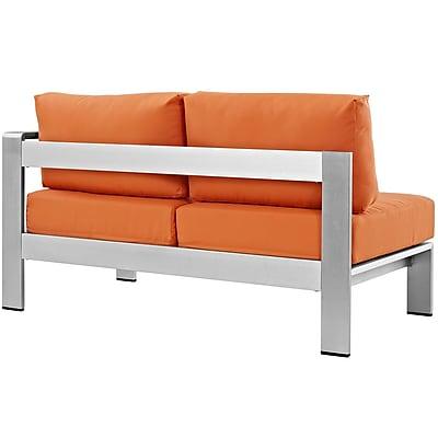 Shore Right-Arm Corner Sectional Outdoor Patio Aluminum Loveseat in Silver Orange (889654064909)