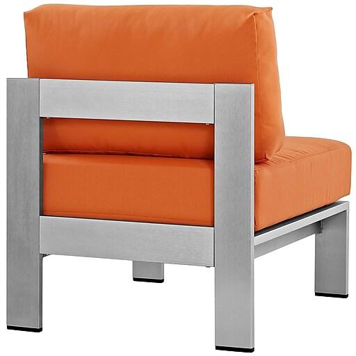 Shore Armless Outdoor Patio Aluminum Chair in Silver Orange (889654064947)