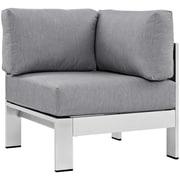 Modway Shore Outdoor Patio Aluminum Corner Sofa in Silver Gray (889654064961)
