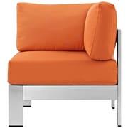 Shore Outdoor Patio Aluminum Corner Sofa in Silver Orange (889654064985)