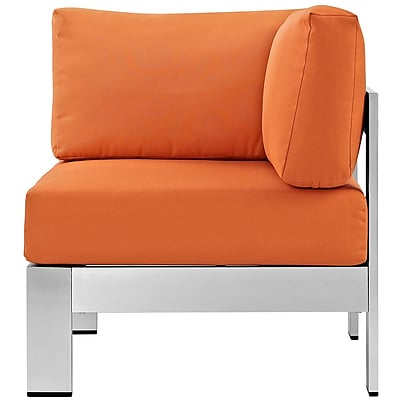 Shore Outdoor Patio Aluminum Corner Sofa in Silver Orange (889654064985)