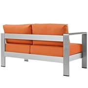 Shore Left-Arm Corner Sectional Outdoor Patio Aluminum Loveseat in Silver Orange (889654065029)