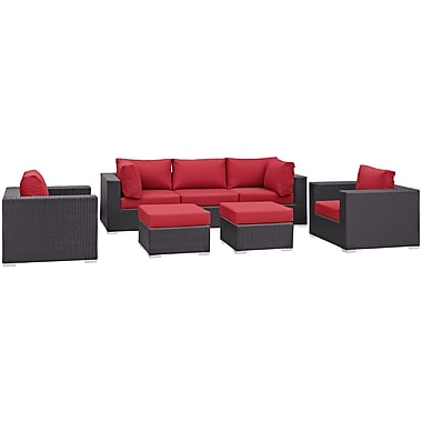 Modway Convene 7 Piece Outdoor Patio Sectional Set in Espresso Red (889654060475)