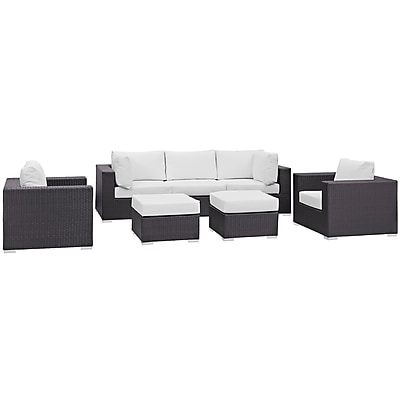 Modway Convene 7 Piece Outdoor Patio Sectional Set in Espresso White (889654060499)