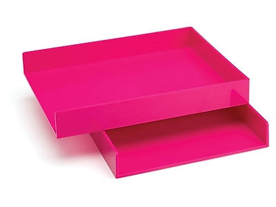 Poppin Front Loading Letter Trays, Pink, 2/Pack (100215)