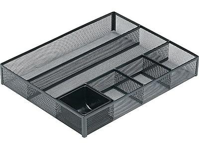 rolodex mesh deep desk drawer organizer 6 compartments black 11 7 rh staples com desk drawer organizer ideas desk drawer organizer diy