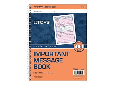 """TOPS® Phone Message Book, Ruled, 2-Part, White/Canary, 11"""" x 8 1/4"""", 1/Ea"""