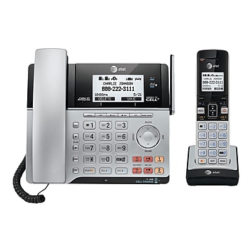 AT&T Connect to Cell TL86103 2-Line Corded/Cordless Phone, Black/Silver